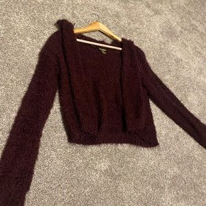 Hoodie Cropped Fuzzy Cardigan